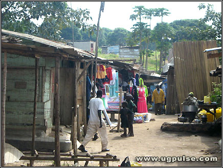 Selling clothes at Kasenyi