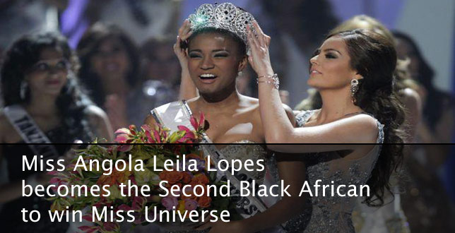 Miss Angola Leila Lopes becomes the Second Black African to win Miss Universe