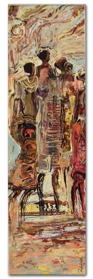 Emancipation is...women joining forces 12x41cm   Acrylic on acid free cardboard