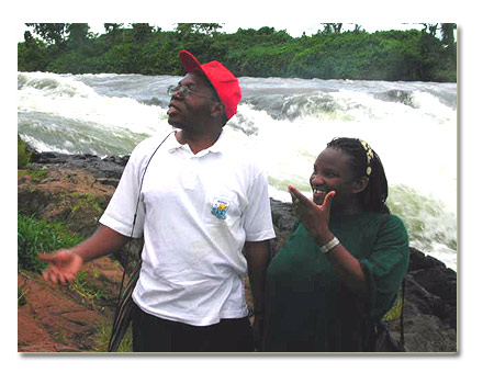 Mercy and her husband at Bujagali falls at Jinja