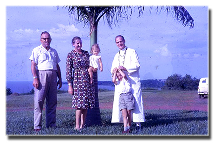 Hubert, Sonja holding Barbara (Wacki) and Father Eudenbach with Michael (Michy)