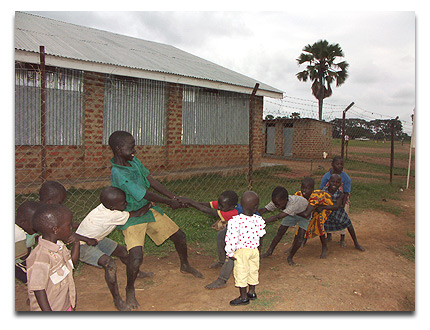 Children playing in the town of Apac
