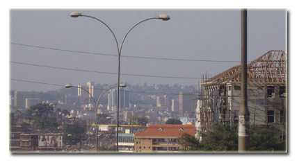 Kampala's skyline, as viewed from Entebbe Road