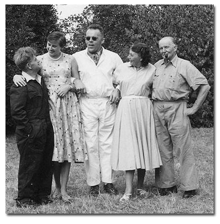 Left to right: Mr. Schweinoch, myself, Hubert, Mrs. Schweinoch and an old German whose name I cannot remember at the moment. He served in the army of Letto v. Vorbeck in Tanganyika