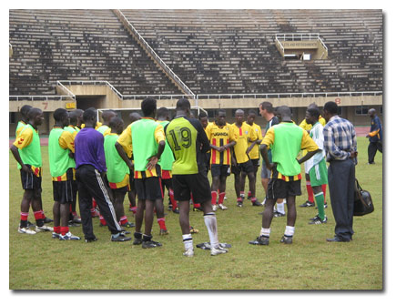 Csaba at a Cranes training session in Namboole stadium last week before the Cranes departed for a friendly tie with Rwanda on Wednesday.