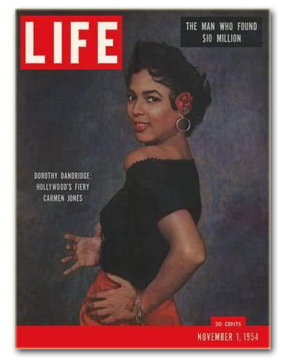 Dorothy Dandridge on the cover of LIFE (Nov 1954), portrait by Philippe Halsman