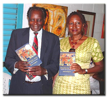 Doreen with Justice Kanyehamba at launch of Tropical Fish: Stories Out of Entebbe in Uganda in April