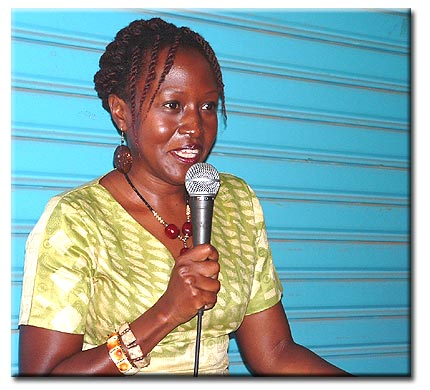 Doreen at launch of Tropical Fish: Stories Out of Entebbe in Uganda in April