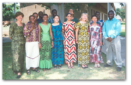 Nancy Oloro and some of the teaching staff of Banani International School in Zambia on Traditional Dress Day