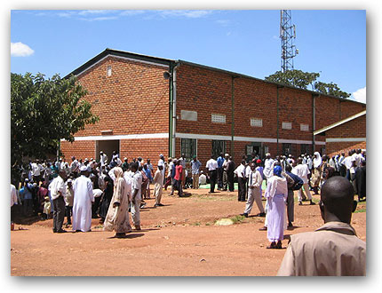 Muslims leave the old mosque after Juma/Friday prayers