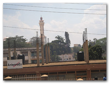 The new National Mosque in Kampala: surrounded by the old buildings of Eastern Kampala